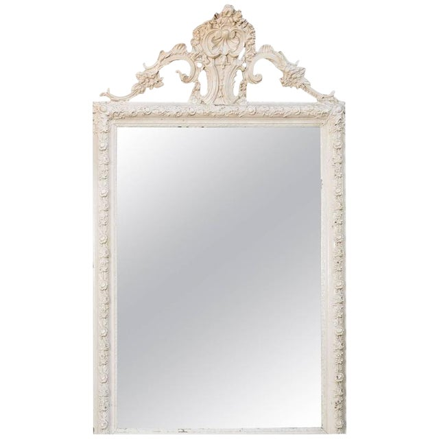 Glamorous Creamy-White Over-Painted Rococo Hand-Carved Wood Mirror, circa 1900 For Sale