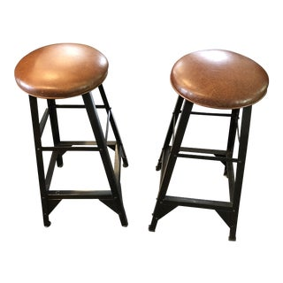 Modern Brown Leather & Metal Stools- A Pair For Sale