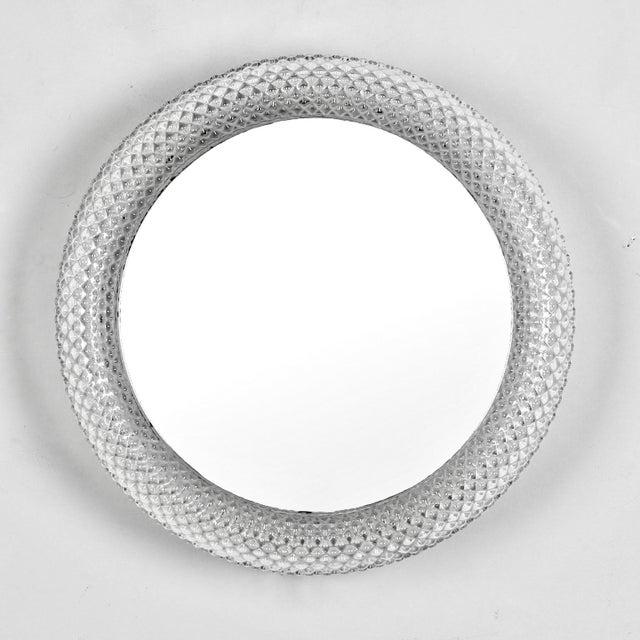 Mid-Century Round Clear Acrylic Frame Mirror Light | Chairish