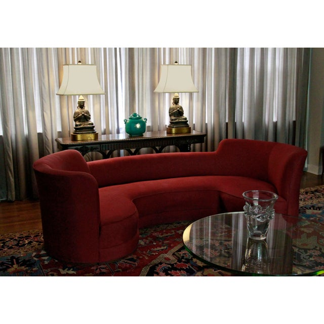 Red Mid-Century Curved Dunbar Oasis Sofa by Edward Wormley For Sale - Image 8 of 9