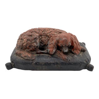 19th Century Patinated Iron Cavalier King Charles Spaniel Paperweight For Sale