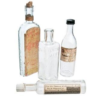 Vintage French Pharmacy Bottles - Set of 4
