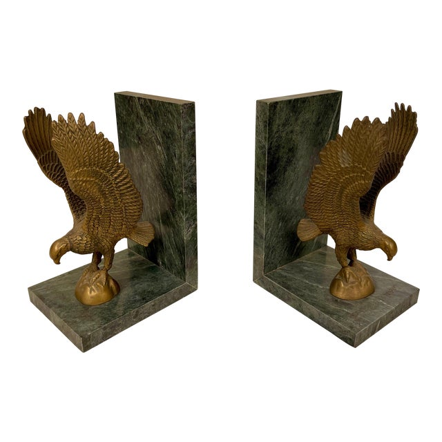 Mid 20th Century Marble & Brass Eagle Bookends - a Pair For Sale