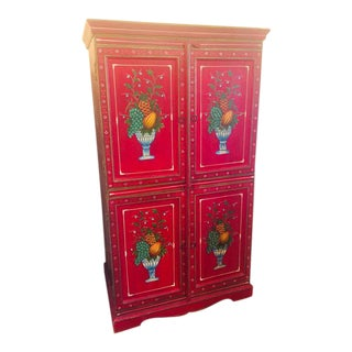Red Country Fruit Handpainted Armoire