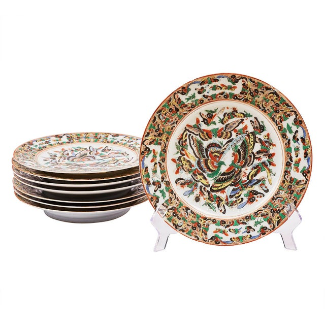 Late 19th Century 19th Century Chinese 1000 Butterflies Plates - a Pair For Sale - Image 5 of 5