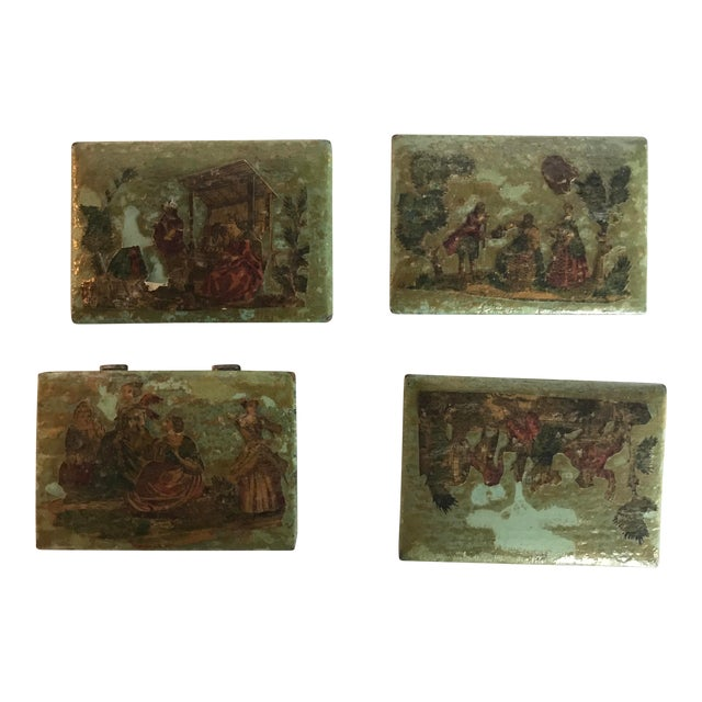 Traditional Green Dresser Boxes - Set of 4 For Sale