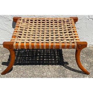 Vintage Klismos Mahogany and Woven Rope Bench, in the Manner of Robsjohn-Gibbons Preview