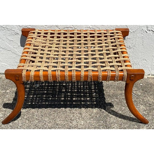Klismos mahogany and woven rope bench, in the manner of T.H. Robsjohn-Gibbons, a fine vintage example, beautiful warm...