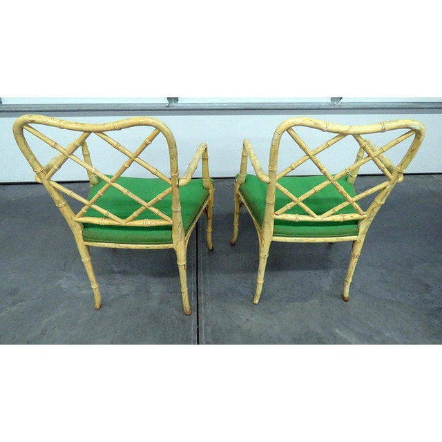 Yellow Pair of Faux Bamboo Armchairs For Sale - Image 8 of 9