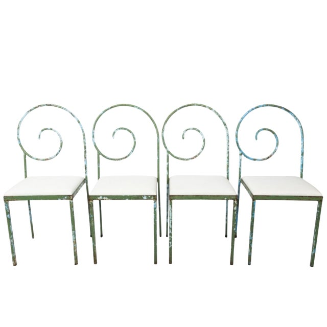 20th Century French Scroll Back Garden Chairs - Set of 4