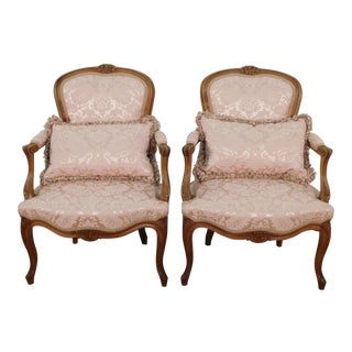 Late 19th Century Vintage French Victorian Walnut Petite Parlor Chairs- A Pair For Sale