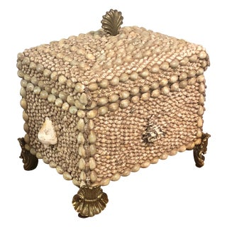 Maitland-Smith Box With Shells and Brass Feet For Sale