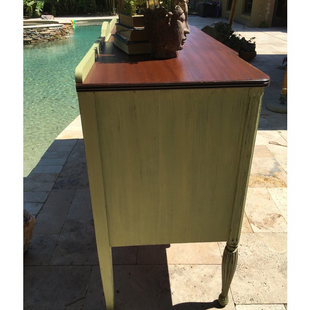Vintage Green Milk Paint Buffet Sideboard Credenza For Sale - Image 7 of 11