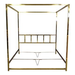 King Size Brass Canopy Bed by Pace For Sale