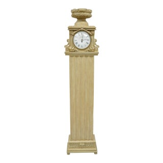 French Regency Empire Style Cream Painted Grandfather Case Standing Clock For Sale