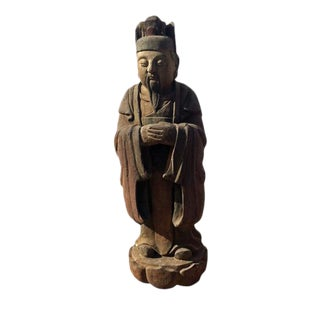 1915 Chinese Government Official Wooden Figure