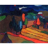 Image of 1920s Vintage Stuart Davis Red Moon Framed Painting For Sale