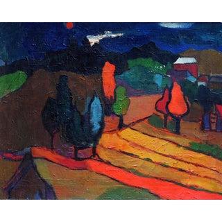 1920s Vintage Stuart Davis Red Moon Framed Painting For Sale