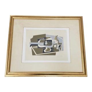 """Juan Gris (1887-1927) Cubist Still Life """"Le Compotier"""" Serigraph Framed C.1920s For Sale"""