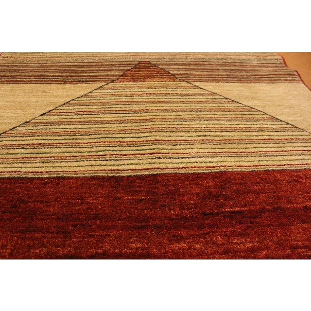 Textile Shabby Chic Gabbeh Peshawar Karol Tan/Red Hand-Knotted Wool Rug -2'11 X 5'1 For Sale - Image 7 of 8