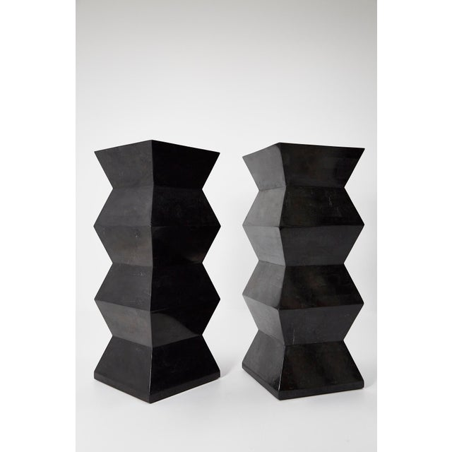 1990s Vintage Oversized Postmodern Tessellated Black Stone Accordion Pedestal For Sale - Image 9 of 13