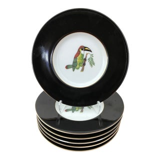 1990s Lynn Chase Jaguar Jungle Petit Four/ Butter Plates - Set of 6 For Sale