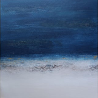 """Abstract Minimalist Modern """"Sunset Late II"""" Landscape Painting For Sale"""