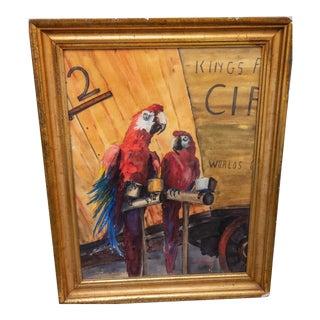 Original Bonita McFarland Watercolor of Scarlet Macaw Parrots For Sale