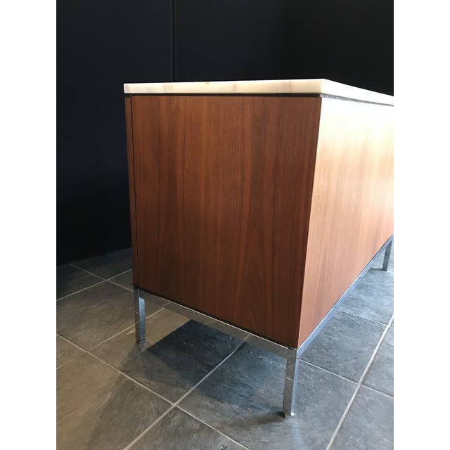Mid-Century Modern Florence Knoll Walnut Credenza With Calacatta Marble Top and Finished Back For Sale - Image 3 of 8