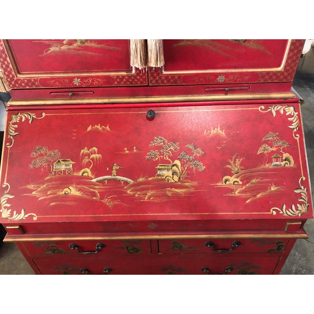 Asian Style Hand Painted Secretary W/ Hutch For Sale - Image 10 of 13