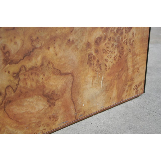 1980s Contemporary Faux Birdseye Maple Burl Console Table For Sale - Image 10 of 13