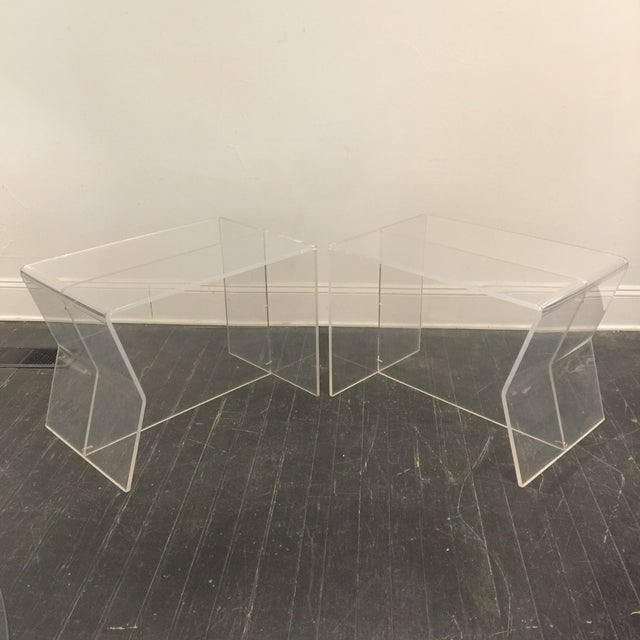 1970s Modern Charles Hollis Jones Lucite Side Tables - a Pair For Sale - Image 10 of 10
