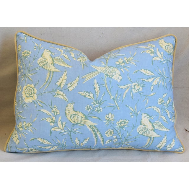 """Early 21st Century Scalamandre Aviary Linen & Velvet Feather/Down Pillows 25"""" X 18"""" - Pair For Sale - Image 5 of 13"""