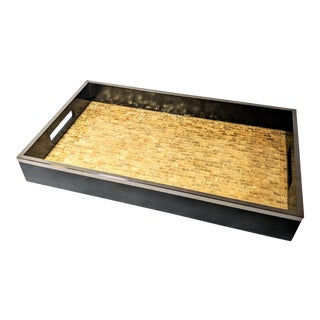 Gold Capiz Lined Valet Tray For Sale