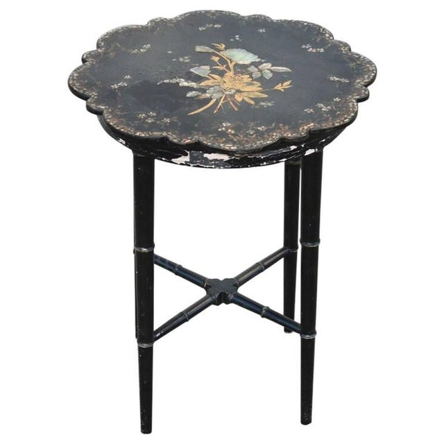 Small Chinoiserie Side Table or Stool Black Faux Bamboo Legs For Sale - Image 4 of 7