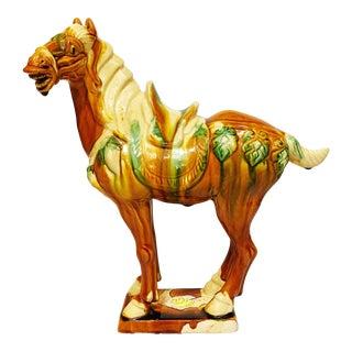 Glazed Ceramic Horse Figurine For Sale
