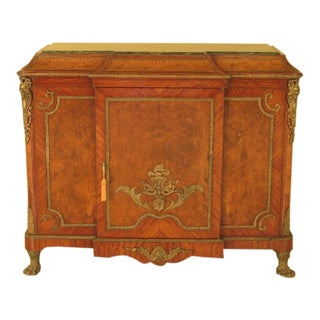 French Louis XIV Style Marble Top Sideboard Cabinet For Sale