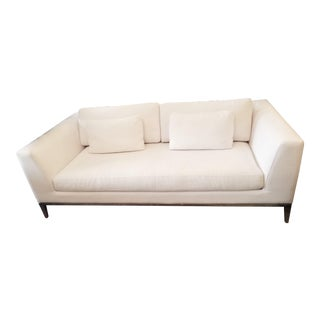 Restoration Hardware Italia Taper Arm White Sofa With Chrome Finish Legs For Sale