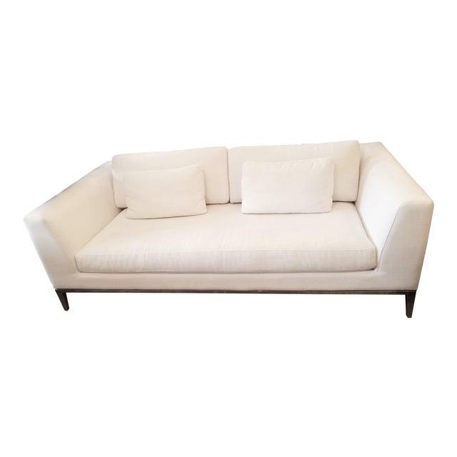 Restoration Hardware Italia Taper Arm White Sofa With Chrome Finish Legs For Sale