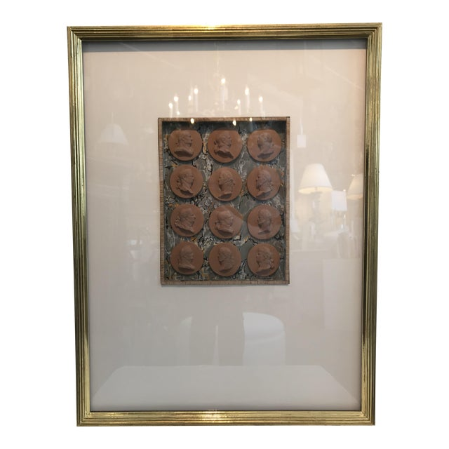 19th Century Italian Terracotta Intaglios in Custom 24-Karat Gilded Frame For Sale