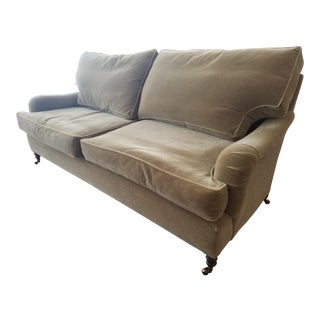 George Smith Olive Green Mohair Sofa For Sale