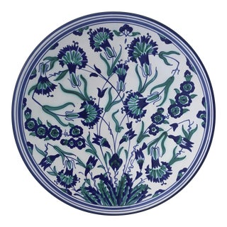 Vintage Tunisian Blue, Green, and White Floral Pattern Glazed Ceramic Serving Plate For Sale
