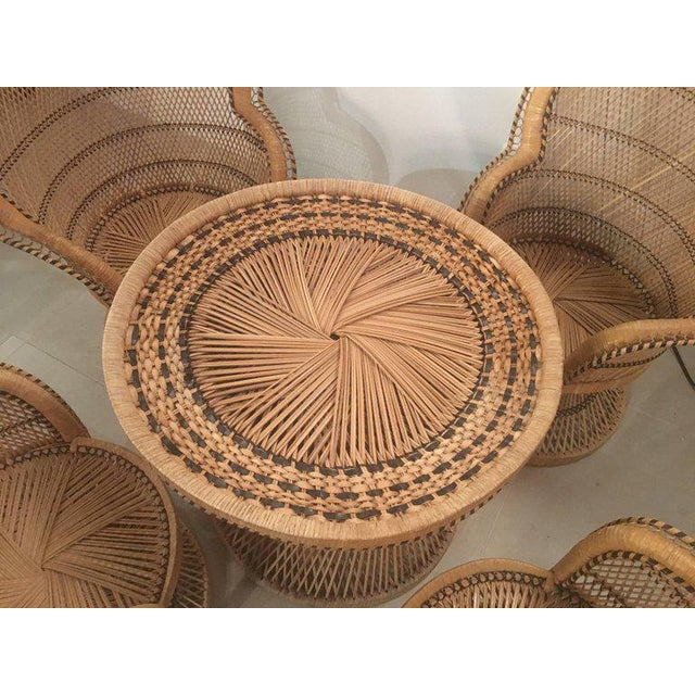 Hollywood Regency Rattan Wicker Peacock Children's Dining Table Chairs Set For Sale - Image 3 of 12