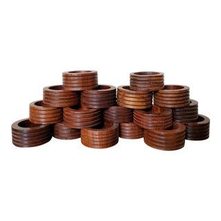 Teak Wood Ribbed Napkin Rings, 18 Piece