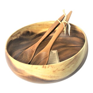 Hawaiian Acacia Wood Serving Bowl & Utensil Set For Sale