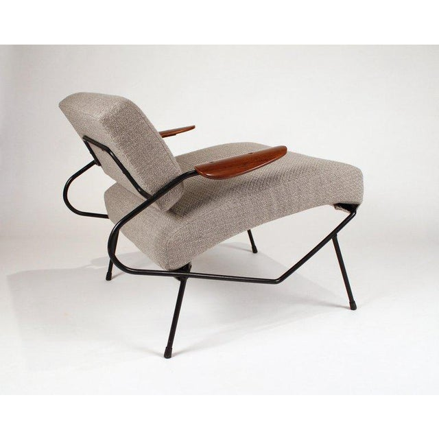Mid-Century Modern Dan Johnson Iron Lounge Chair With Bent Walnut Plywood Armrests For Sale - Image 3 of 10