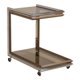 Bronze and Nickel Barcart With Smoked Glass Late 1970s