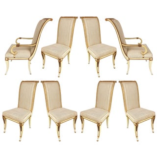 Neoclassical Painted Parcel Gilt Dining Chairs W/ Bronze Mounts-Set of 8 For Sale