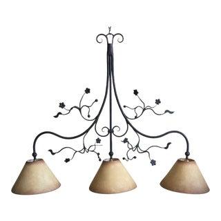 Traditional Ironware International Three Light Pendant For Sale