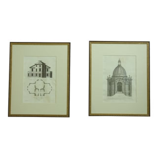 Vintage Framed & Matted English Architectural Prints - a Pair